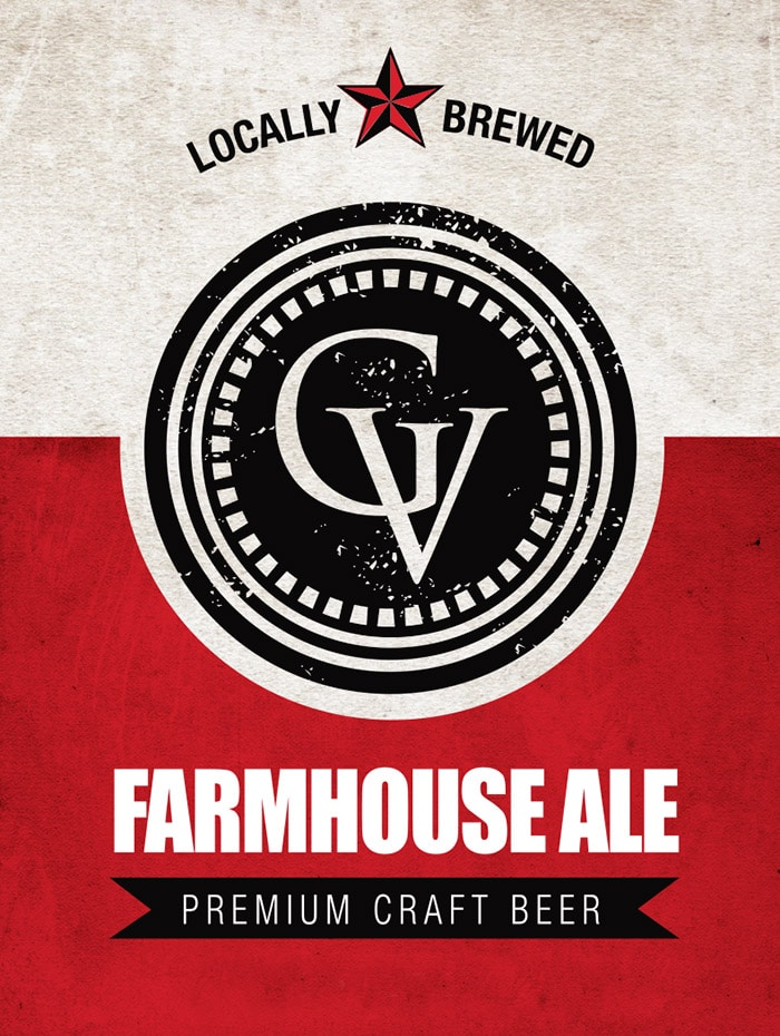 The logo for Farmhouse Ale, a craft beer brewed at Gervasi Vineyard distillery in Canton, OH