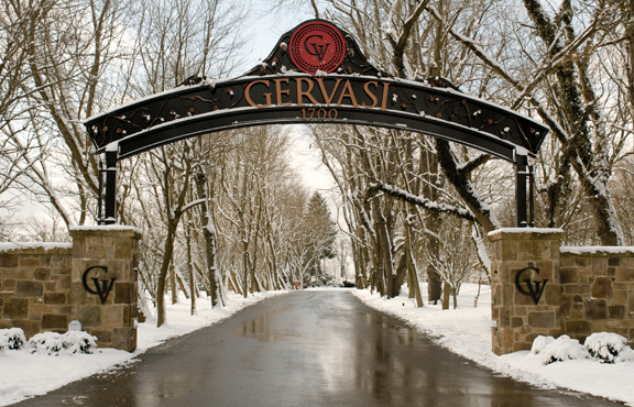 Gervasi arch accompanied by beautiful snow