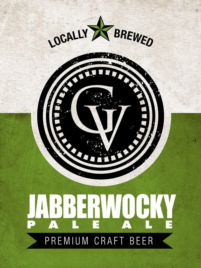 The logo for Jabberwocky Pale Ale, a craft beer brewed at the Gervasi Vineyard distillery in Canton, OH