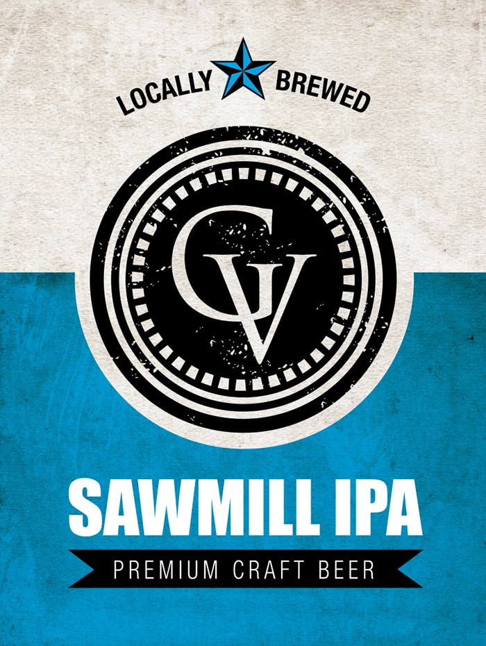 The logo for Sawmill IPA, a craft beer brewed at the Gervasi Vineyard distillery in Canton, OH