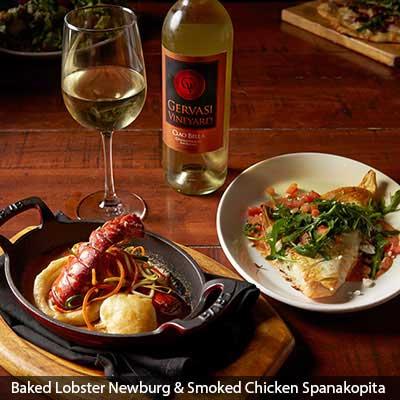Baked Lobster Newburg & Smoked Chicken Spanakopita