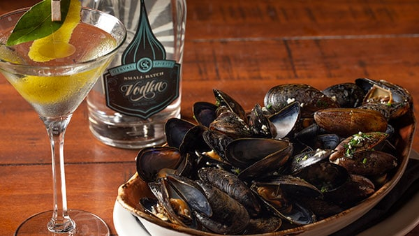 GS Vodka Martini with Sautéed Mussels from The Bistro