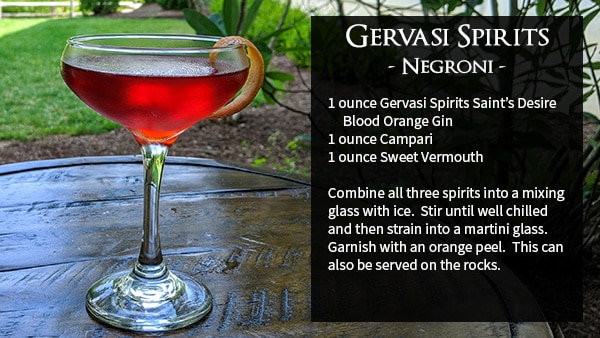 Negroni 1 ounce GS Saint's Desire Blood Orange Gin 1 ounce Campari 1 ounce Sweet Vermouth Combine all three spirits into a mixing glass with ice. Stir until well chilled and then strain into a martini glass. Garnish with and orange peel. This can also be served on the rocks instead.